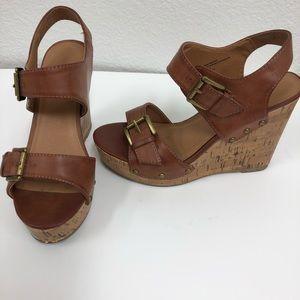 Mossimo Supply brown Wedge cork heel sandals 5.5